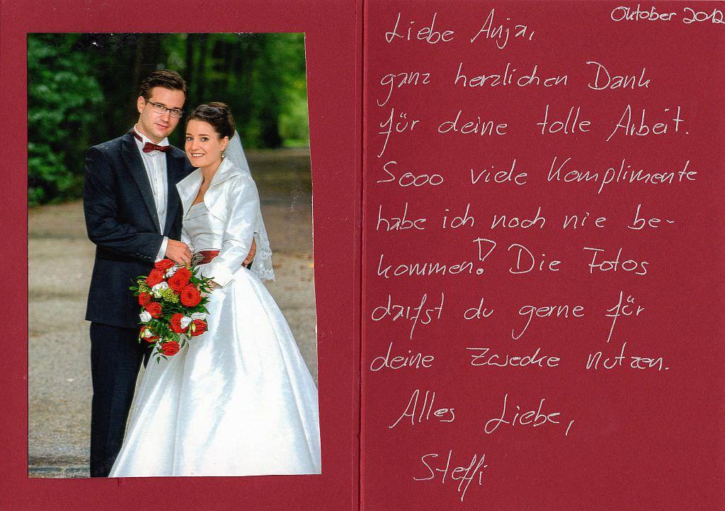 Dankesworte Brautfrisur München